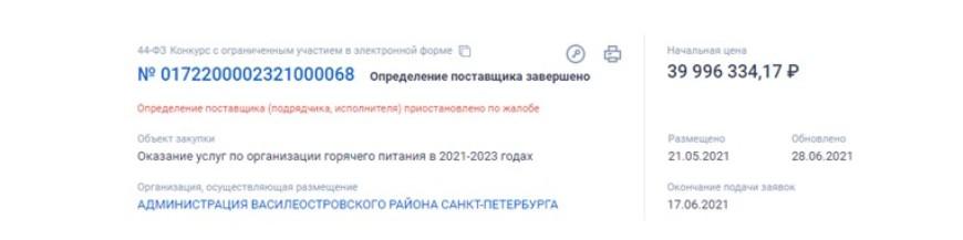 В Василеостровском районе разгорелась борьба за контракт на поставки питания в школу